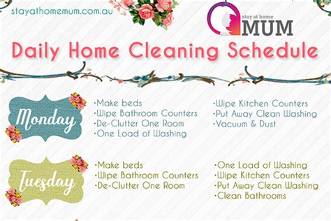daily home cleaning schedule stay at home