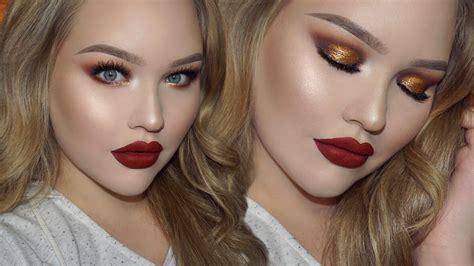 Eyeshadow Tanpa Glitter eye makeup with lipstick tutorial saubhaya makeup