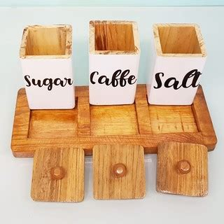 tempat kopi set gula garam teh kayu tempat penyimpanan
