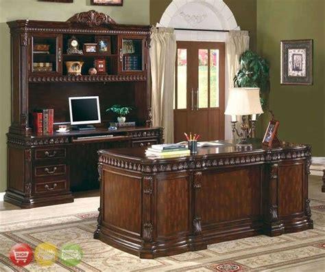 union hill  piece executive desk set wood hutch office furniture credenza ebay