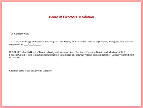 board resolution templates 4 sles for word and pdf