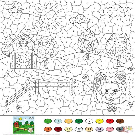 color by number rural landscape color by number free printable coloring