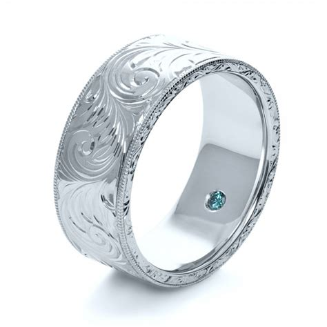 Custom Hand Engraved Hidden Blue Diamond Ring #1122