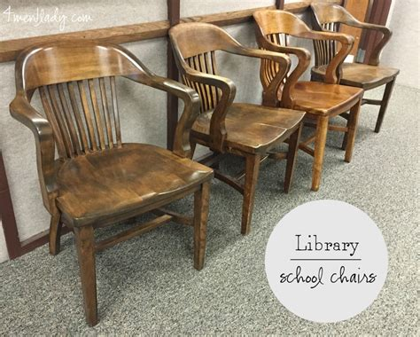 Wooden Library Chair by Vintage Library Chairs