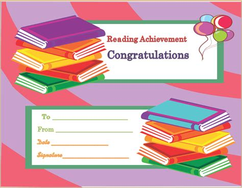 reading certificate template reading achievement award certificate template
