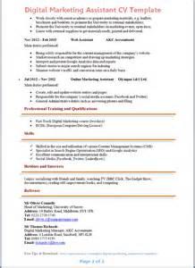 cv marketing template digital marketing assistant cv template preview 2