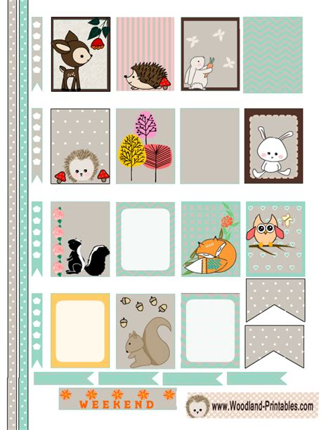 printable stickers of animals free printable woodland planner stickers