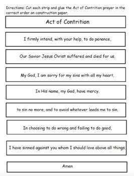 Act Of Contrition Worksheet by Act Of Contrition Prayer Cut And Paste Activity By Faith