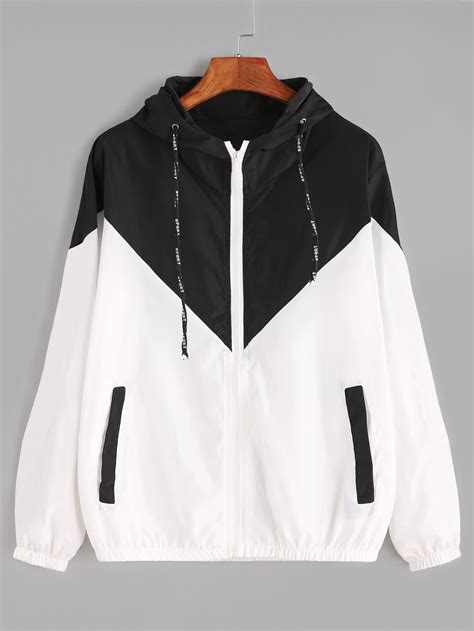jacket color contrast drawstring hooded zip up jacketfor romwe
