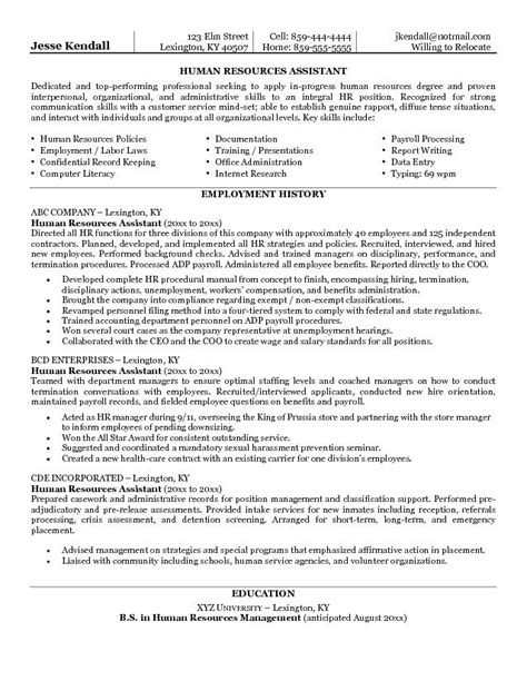 Resume Human Resources Objective Exle Human Resources Assistant Resume Free Sle