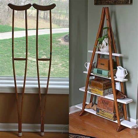 upcycled home decor ideas turn wood crutches into a bookshelf pallet ideas recycled upcycled pallets furniture projects
