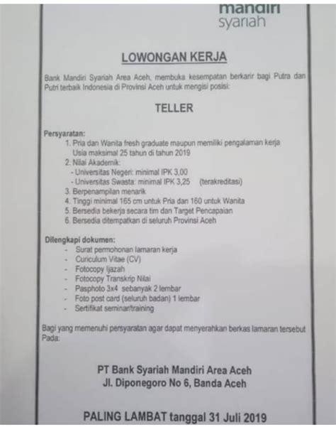 lowongan kerja informasi bank teller pt bank syariah manri area aceh