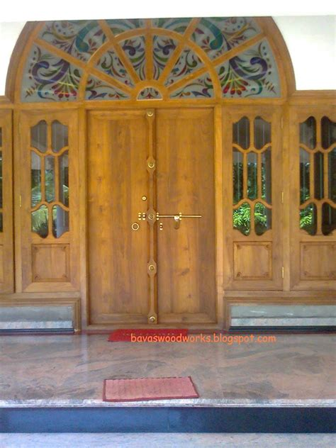 kerala style home window design bavas wood works arched wooden door frame with double