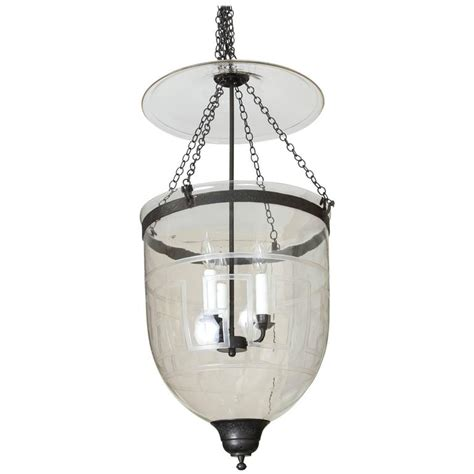 Hundi Light Fixture Lare Hundi Bell Jar Fixture With Etched Key Design For Sale At 1stdibs