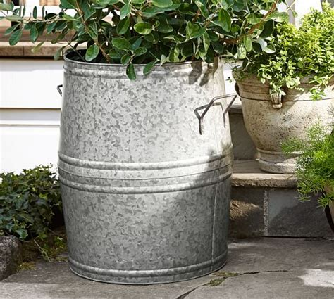 Large Metal Garden Planters by Eclectic Galvanized Metal Planters Pottery Barn