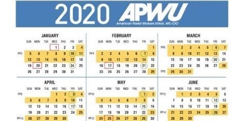 apwu  pay holiday calendar leave chart st century postal worker