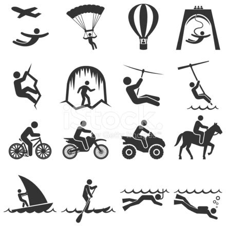 black and white adventure travel icon set stock vector