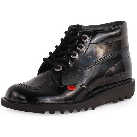 kickers kick hi womens leather black patent ankle boots