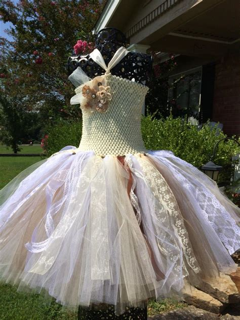 Burlap Lace Couture With Lace Accents Flower Girl Tutu Country Shabby Chic Wedding