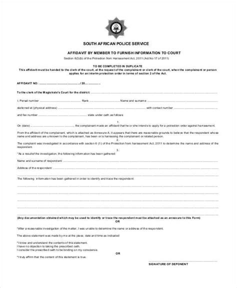 south affidavit template affidavit form template