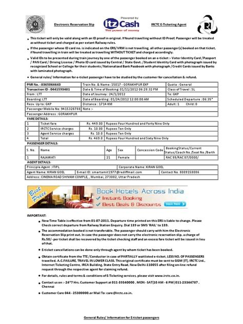 Reservation Through Letter sle irctc e ticket in word format