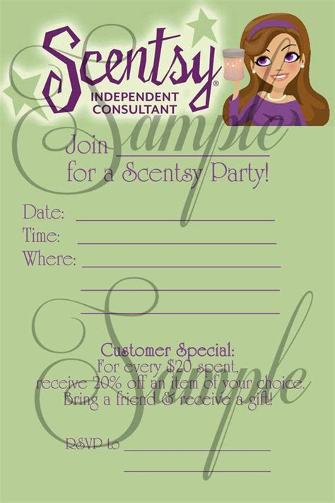 Scentsy Consultant Fill In Party Invitation Custom Printable Jpeg File On Etsy 10 00 Scentsy Invitation Templates