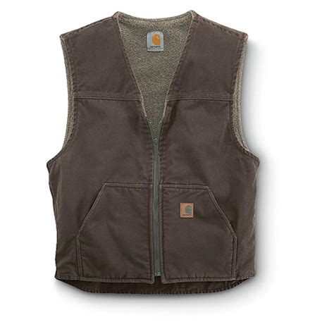carhartt sandstone rugged vest carhartt s sandstone rugged sherpa lined vest 156260 vests at sportsman s guide