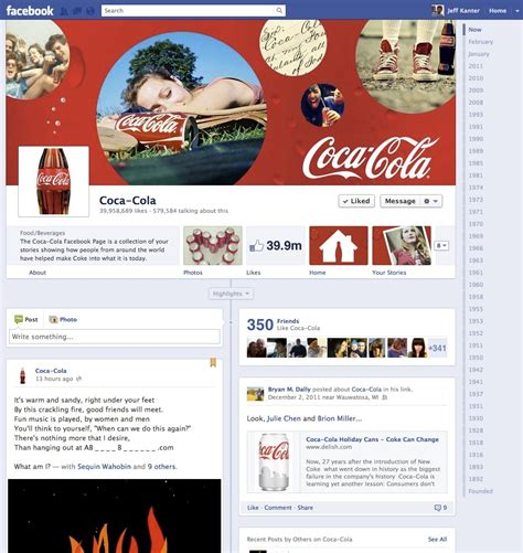 layout design of coca cola company facebook to display ads as users log out the blog herald