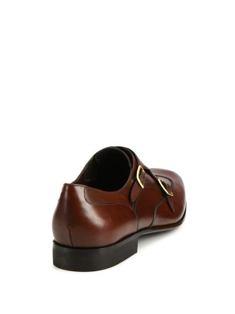 ferragamo brown shoes lyst ferragamo merida monk leather wingtip