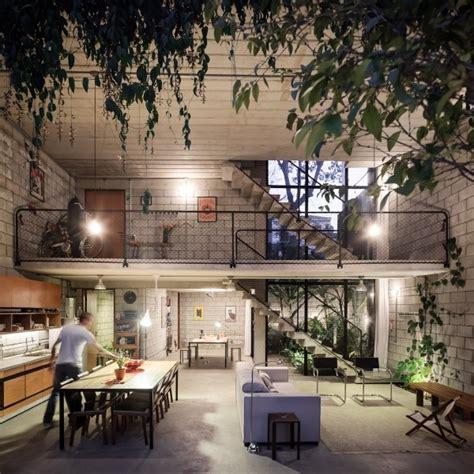 homes with interior courtyards exposed brick interior walls design olpos design