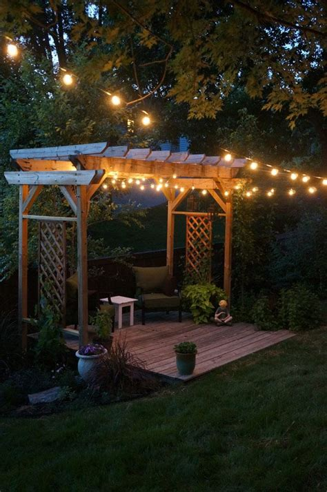Pergola And String Lights Our Backyard For The Home Pergola String Lights