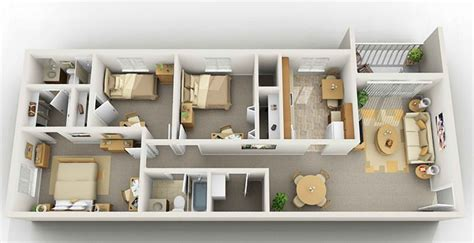 flat plans three bedrooms