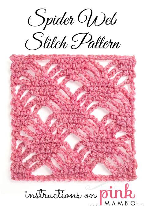 spider stitch knitting spider web crochet stitch pattern crochet patterns pink