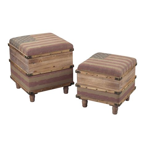 Wooden Ottoman National Set Of Two Wooden Storage Ottomans