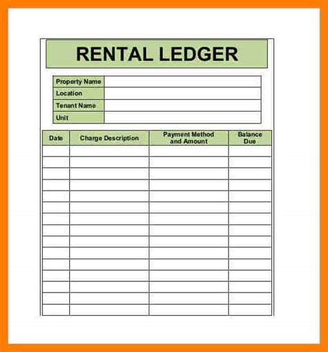 8 rental ledger book template ledger entries