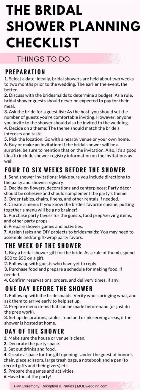 Bridal Shower Checklist Printable