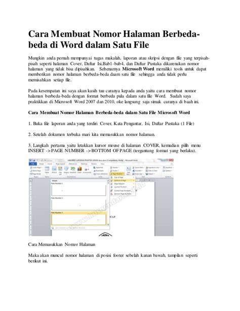 cara membuat halaman pada makalah word cara membuat nomor halaman berbeda pada word