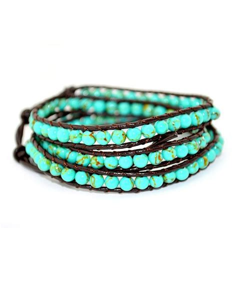 beaded leather wrap bracelet turquoise beaded 3 wrap leather bracelet bracelets
