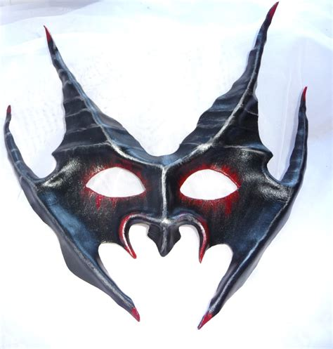 Handcrafted Masks - genuine handmade leather horned mask b