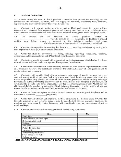 Agreement Letter For Security Service security service agreement template best free home