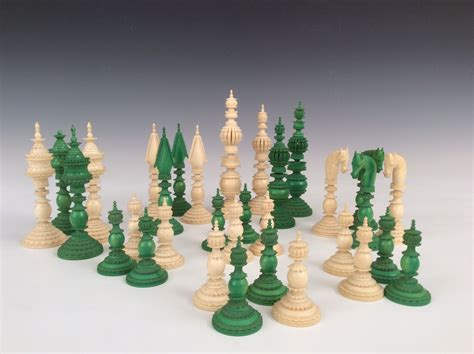 white chess set antique green white ivory pepys chess set