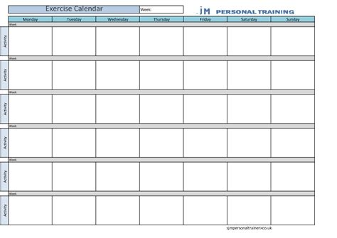 best photos of weekly workout calendar template fitness