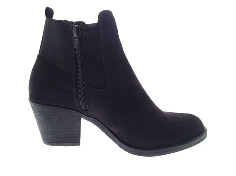 shoes boots womens chunky block heel chelsea ankle boots faux suede