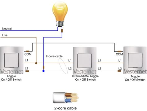 wiring diagram for 2 way and intermediate lighting circuit
