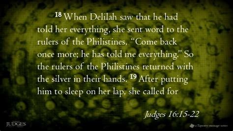 judges 16 19 after putting him to sleep on her lap she judges 8 samsons nazirite