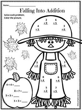 Autumn Math Coloring Pages | free autumn addition activity this is a free fall math