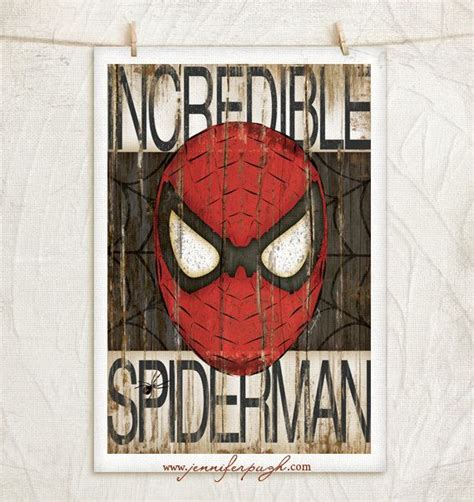 spiderman home decor spiderman 12x18 art print comic art vintage home wall
