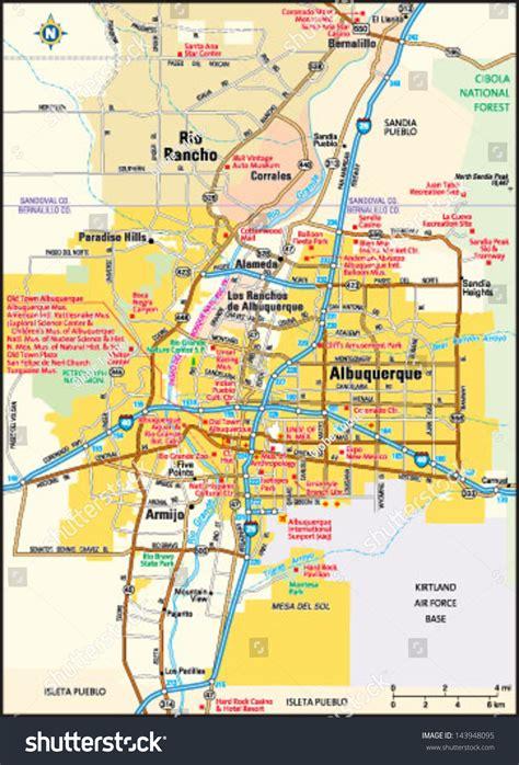 albuquerque map usa albuquerque new mexico area map stock vector illustration