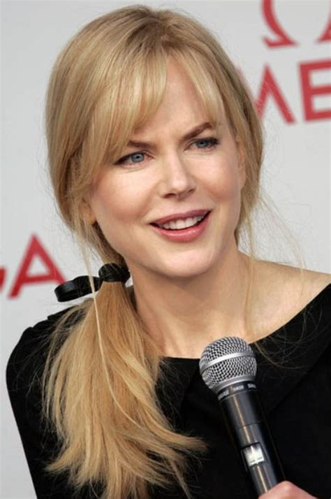 nicole kidman long hairstyle ponytail with side swept