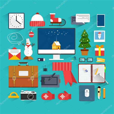 flat decoration christmas eve creative workplace concept christmas and